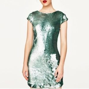 {NWT} Zara | Green Sequined Mini Dress